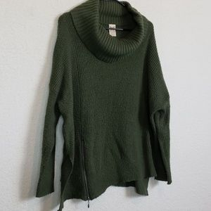 Womans green cowl neck sweater size large
